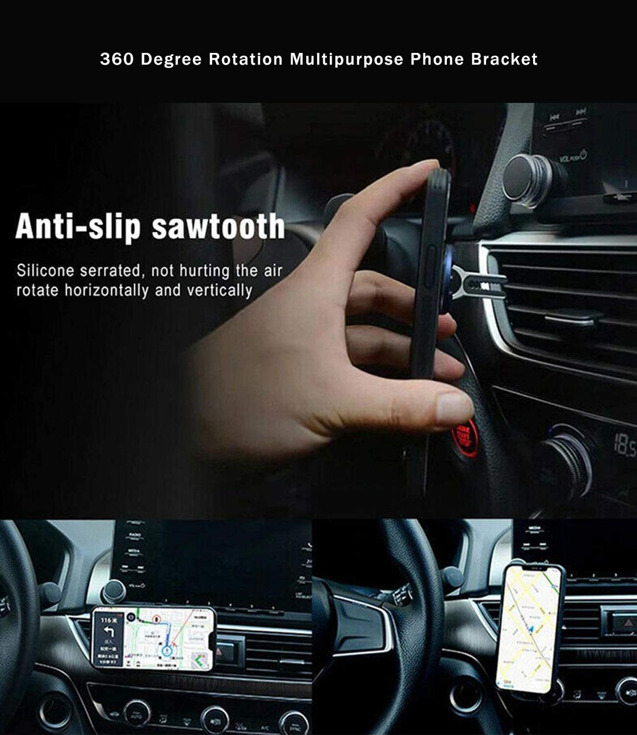WYMECT Multipurpose Mobile Phone Bracket Holder Stand 360 Degree Handsfree Rotation Cellphone Mount for Car Home 3 Pack