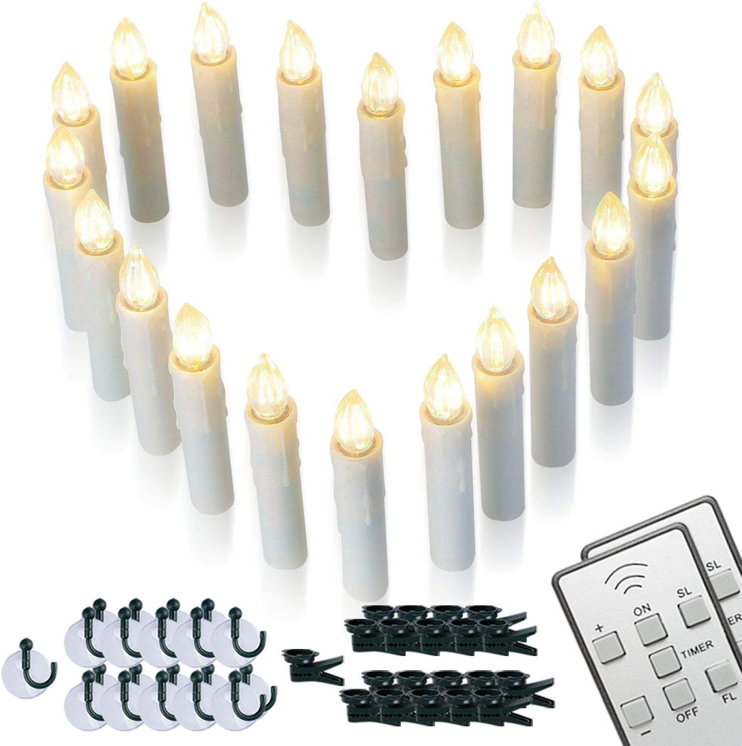 Homemory 20 PCS LED Window Candles with Remote Timer, Battery Operated Flameless Taper Christmas Candles Light with Clips/Suction Cups, Flickering Warm White Light, Dia 0.7''x 4''