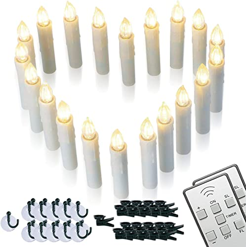 Homemory 20 PCS LED Window Candles with Remote Timer, Battery Operated Flameless Taper Christmas Candles Light with Clips Suction Cups, Flickering Warm White Light, Dia 0.7 x 4