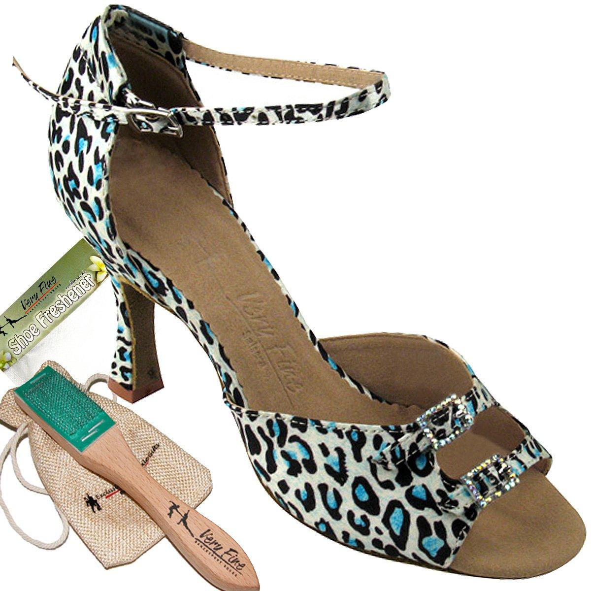 Women's Ballroom Dance Shoes Tango Wedding Salsa Dance Shoes Blue Leopard Sera1620BEB Comfortable - Very Fine 3'' Heel 7.5 M US [Bundle 5]