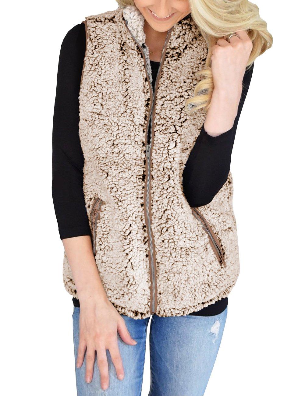 MEROKEETY Women's Casual Sherpa Fleece Lightweight Fall Warm Zipper Vest Pockets
