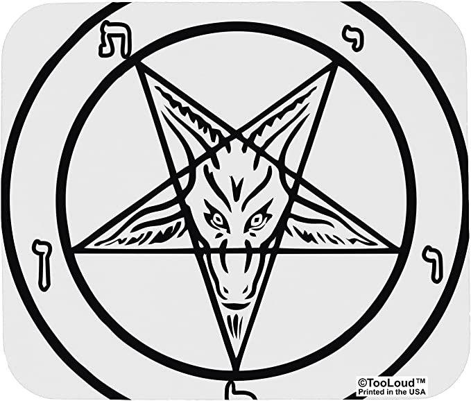 Keyboard-11.79 X 9.82 X 0.12 Inch Mouse Pad Red Satanic Baphomet Symbol Hidden Alternative Clothing Goat Non-Slip Rubber Base Upset Waterproof Mouse Mat for Laptop Computer PC