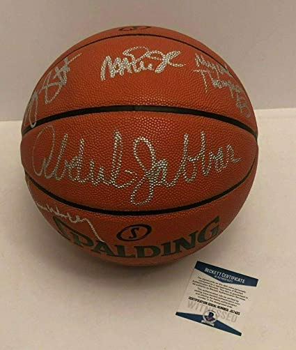 04b3e637eef Magic Johnson Kareem Abdul-Jabbar Signed Basketball  Lakers Showtime BAS  Beckett - Beckett Authentication