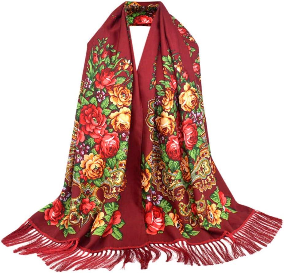 Evangelia.YM Women Folk-Custom Floral Embroidery Long Scarf Shawl 200×70cm Fashion Xmas Gifts Beautiful Tassel Winter Warm Wrap Scarves Muffler (Army Green)