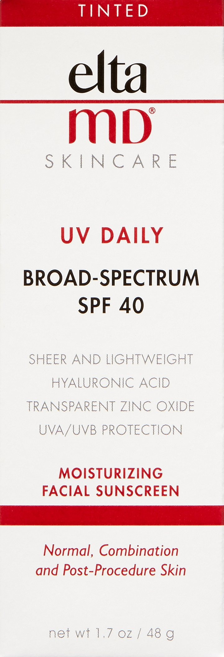 EltaMD UV Daily Tinted Face Sunscreen Moisturizer with Hyaluronic Acid, Broad Spectrum SPF 40, Non greasy, Sheer Lotion, Mineral-Based Sun Protection, 1.7 oz