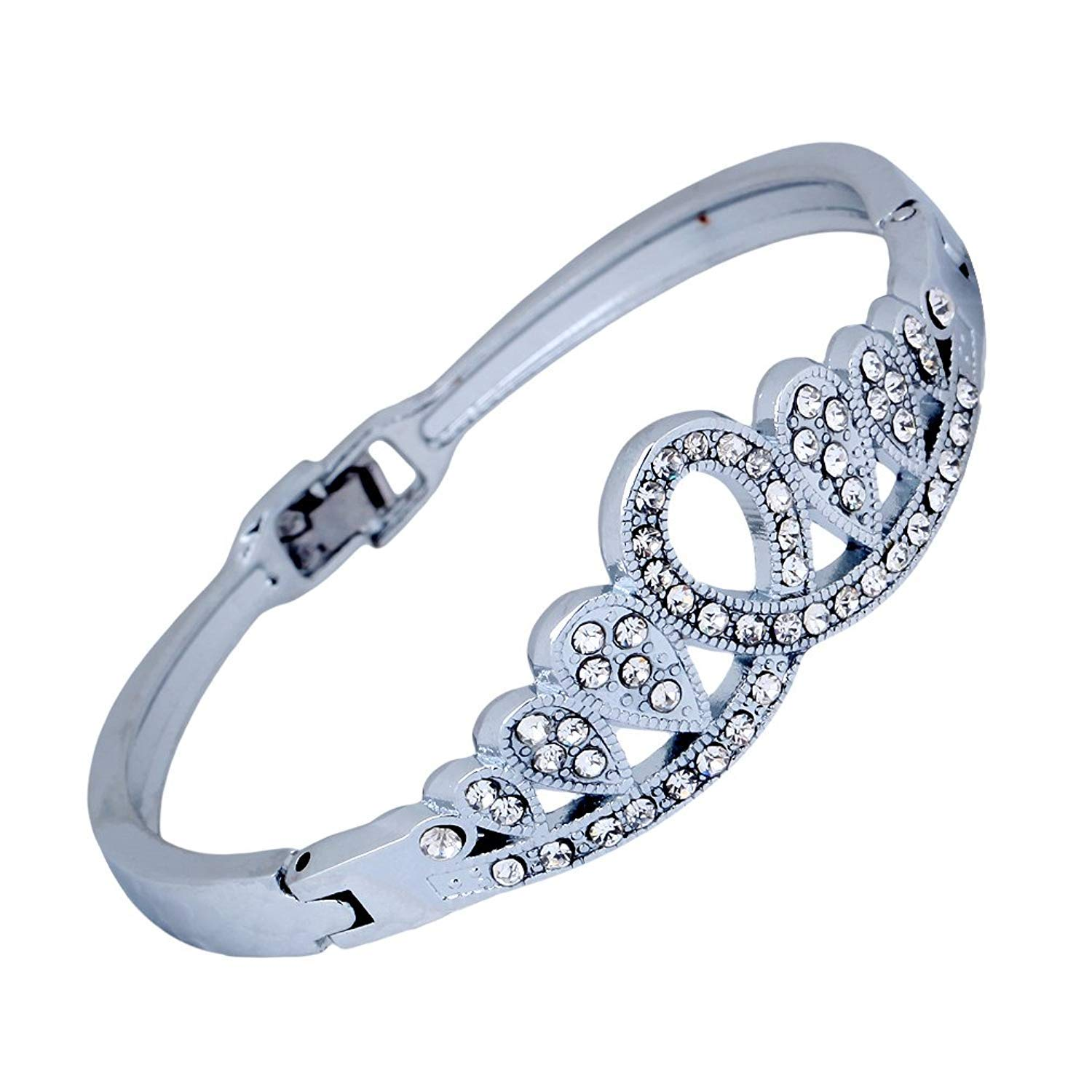 DVANIS Antique Silver Plated Clear Crystal Bangle Bracelet 2.2'' Gift Women