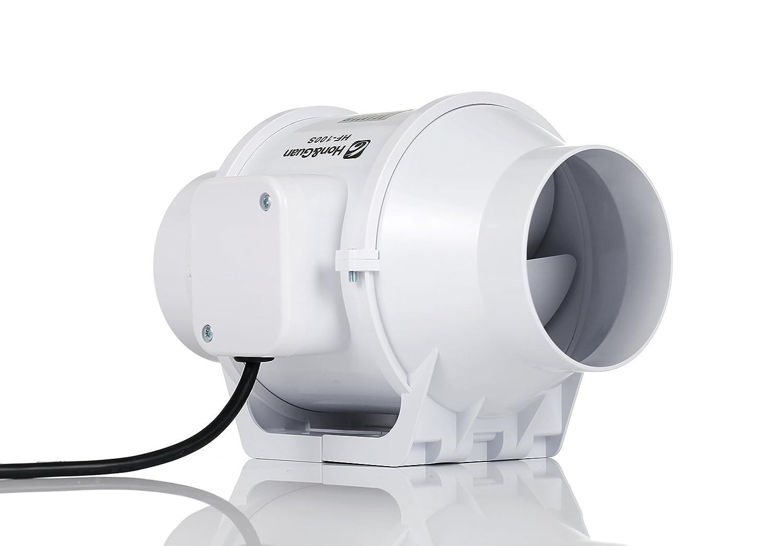 Hon&Guan Extracteur Ventilateur en ligne Super Lé ger et Silencieux (100mm avec minuteur)