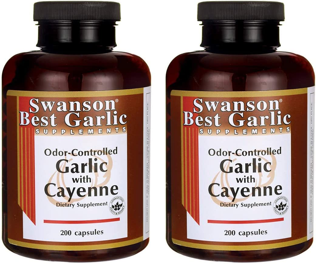 Swanson Garlic with Cayenne 200 Capsules 2 Pack