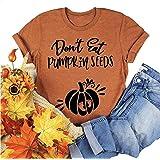 Don't Eat Pumpkin Seeds T-Shirt Women Funny Halloween Maternity Shirt Letter Print Graphic Tee Tops