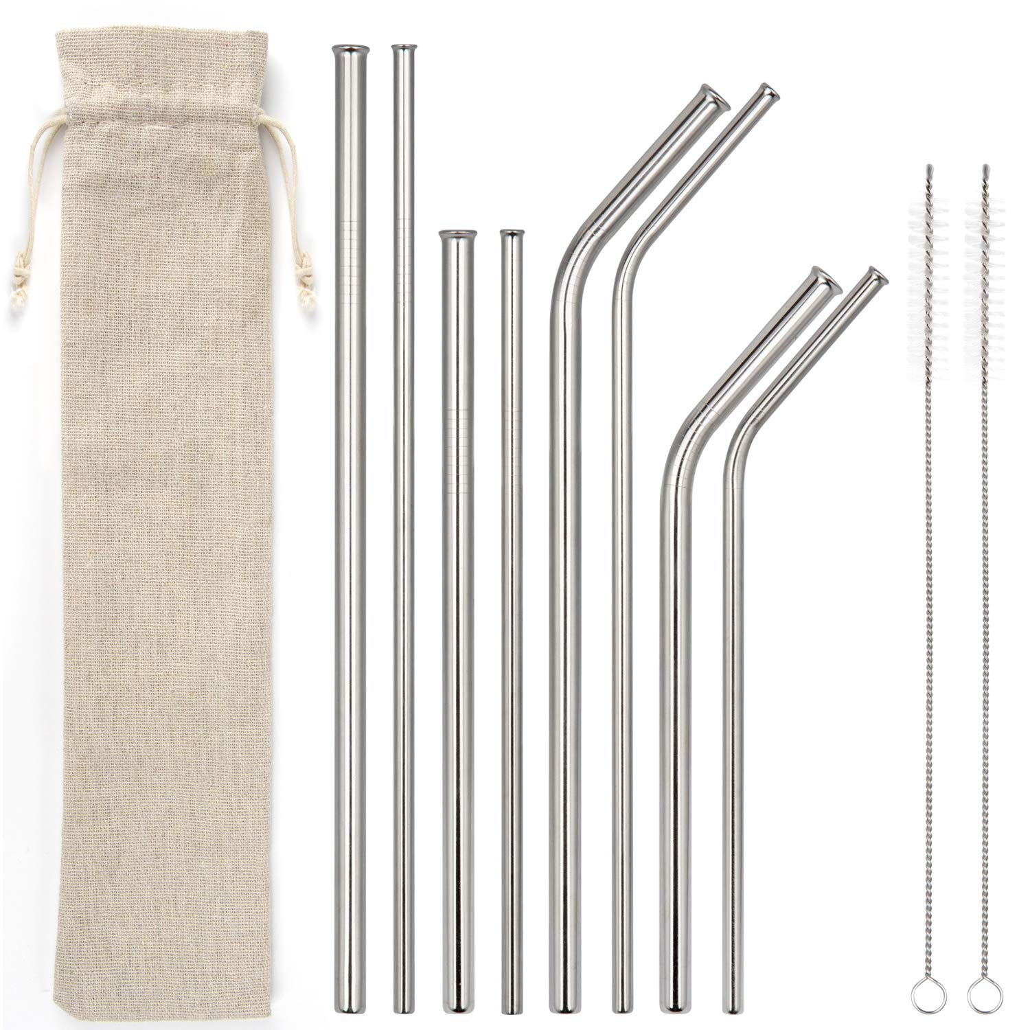 WILTEEXS Non-plastic Drinking Straws 8 Smoothie Reusable,for 20 oz and 30 oz Tumbler Yeti, RTIC, Trail, Starbucks, Ozark, Silver, Newest Anti-scratch Style, Stainless Steel