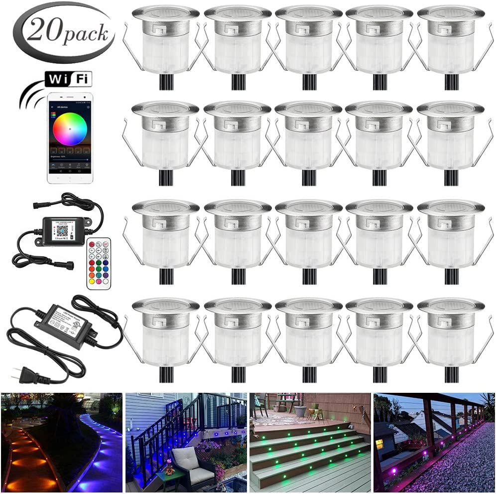 "LED Deck Light Kits, FVTLED 20pcs Φ1.18"" WiFi Control Low Voltage LED Deck Light Waterproof Outdoor Decor Stair RGB Lamps Wireless Smart Phone Compatible with Echo Alexa Google Home"