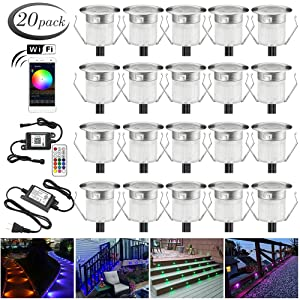 """LED Deck Lights Kit, 20pcs Φ1.18"""" WiFi Wireless Smart Phone Control Low Voltage Recessed RGB Deck Lamp In-ground Lighting Waterproof Outdoor Yard Path Stair Landscape Decor, Fit for Alexa,Google Home"""