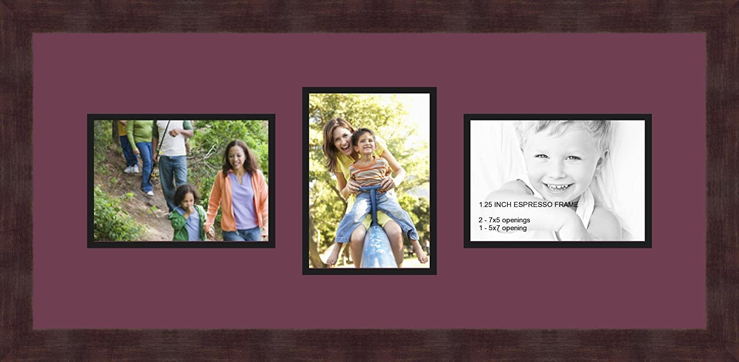 Art to Frames Double-Multimat-213-815//89-FRBW26061 Collage Frame Photo Mat Double Mat with 3-5x7 Openings and Espresso Frame