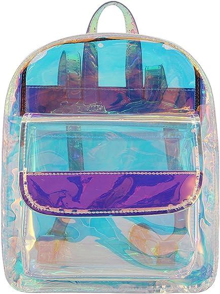 Liliam Women Holographic Transparent Backpack Daypack Satchel Shoulder Travel Bag