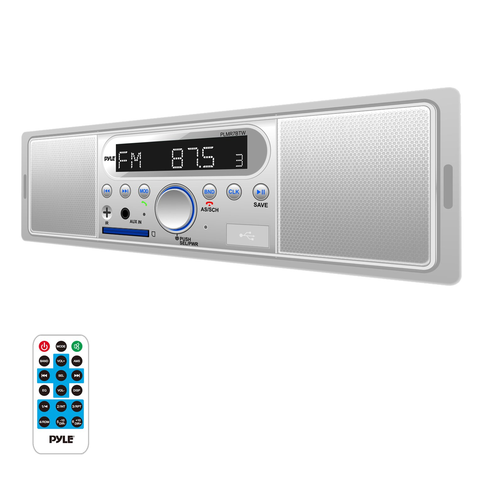 Pyle Marine Bluetooth Stereo Radio - 12v Single DIN Style Digital Boat in Dash Radio Receiver System with Built-in Mic and Speakers, RCA, MP3, USB, SD, AM FM Radio - Remote Control - PLMR7BTW (White) by Pyle (Image #1)
