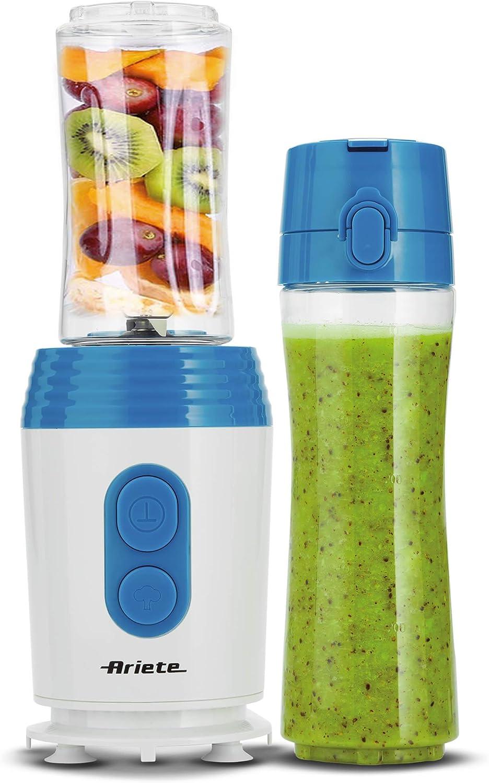 Ariete 572 - Batidora de vaso individual para llevar Drink&Go, 350 W, para zumos frutas y verduras, permite picar hielo, color blanco y azul: Amazon.es