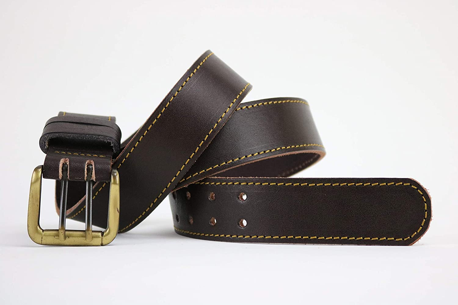 Mens dark brown leather belt with yellow stitching