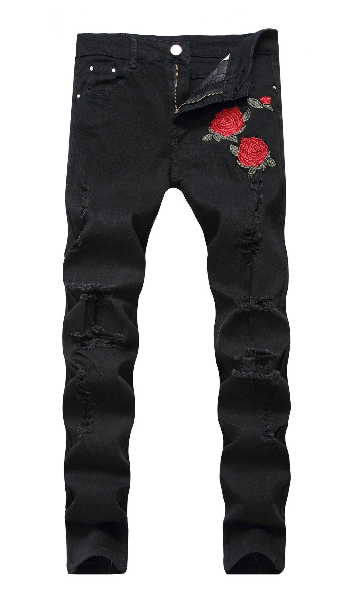 Vionr Men¡¯s Fashion Embroideried Flower Ripped Broken Hole Slim Fit Denim Jeans Black