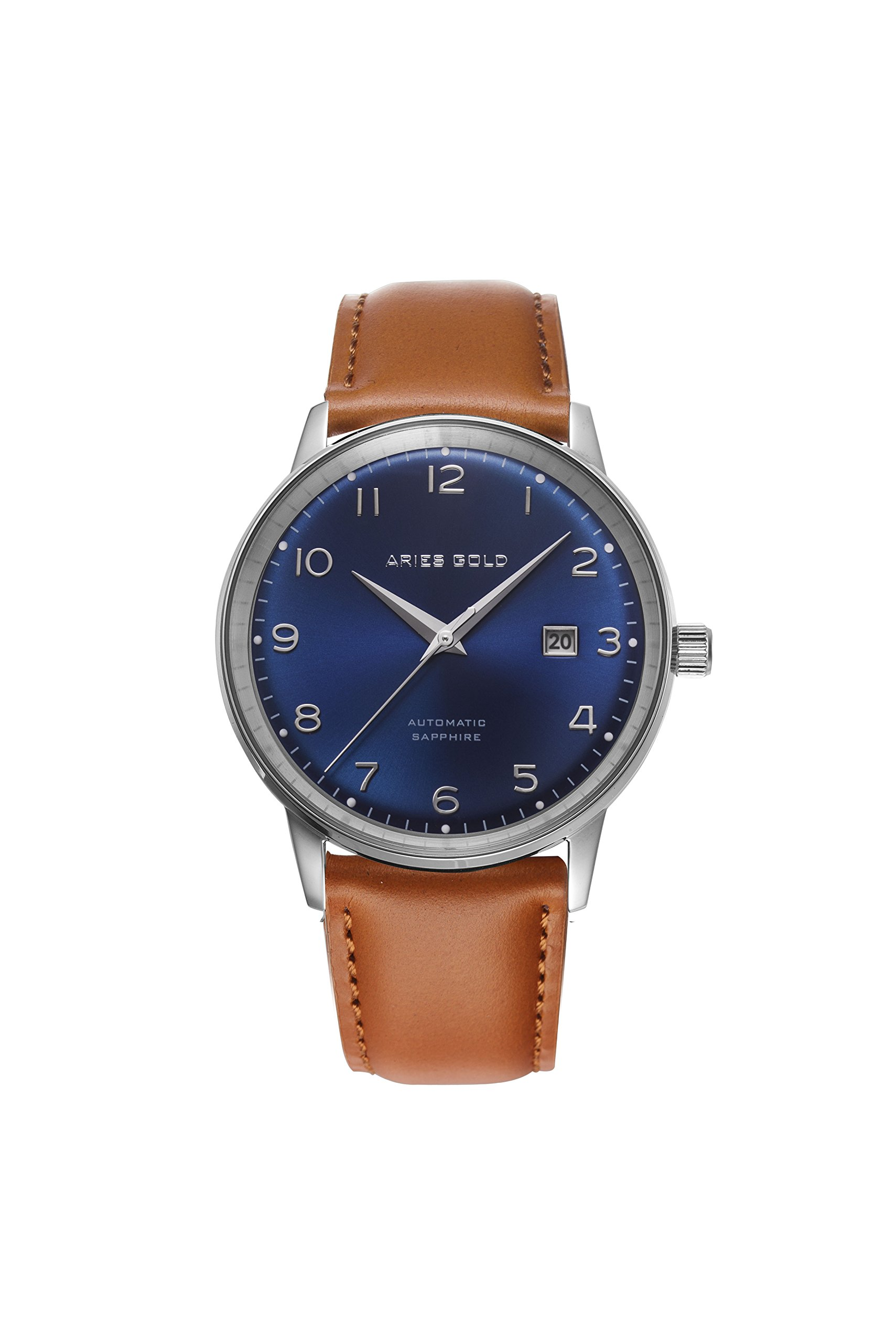 Aries Gold│ODYSSEY│G 9010 S-BU│Men's Wrist Watch│Genuine Leather Strap│Curve Dial│Date Window (Blue) | Valentine's Day Gift For Him
