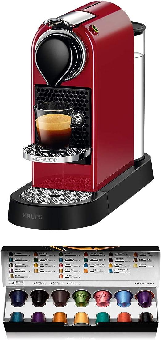 Nespresso Krups Citiz XN7405 - Cafetera monodosis de cápsulas Nespresso, compacta, 19 bares, apagado automático, color granate: Amazon.es: Hogar