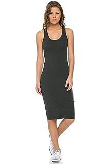 92a68b5e695c LaClef Women's Sleeveless Basic Racer Back Tank Midi Cotton Casual Dress