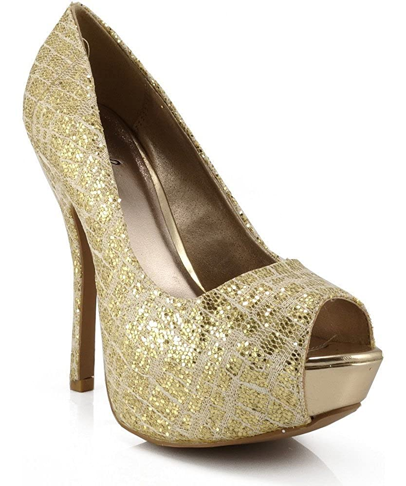 14446865c0c Amazon.com | Qupid Onyx-138 Platform High Heel Peep Toe Glitter ...