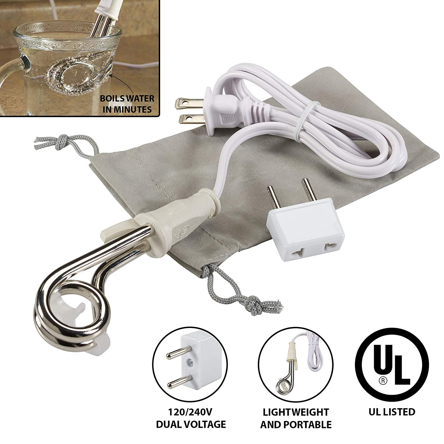Lewis N. Clark Immersion Heater for Boiling Water (Portable + Better than Electric Kettle): Heat Coffee, Tea, or Hot Chocolate in Minutes for Camping, Travel + Office Use with Included Travel Adapter