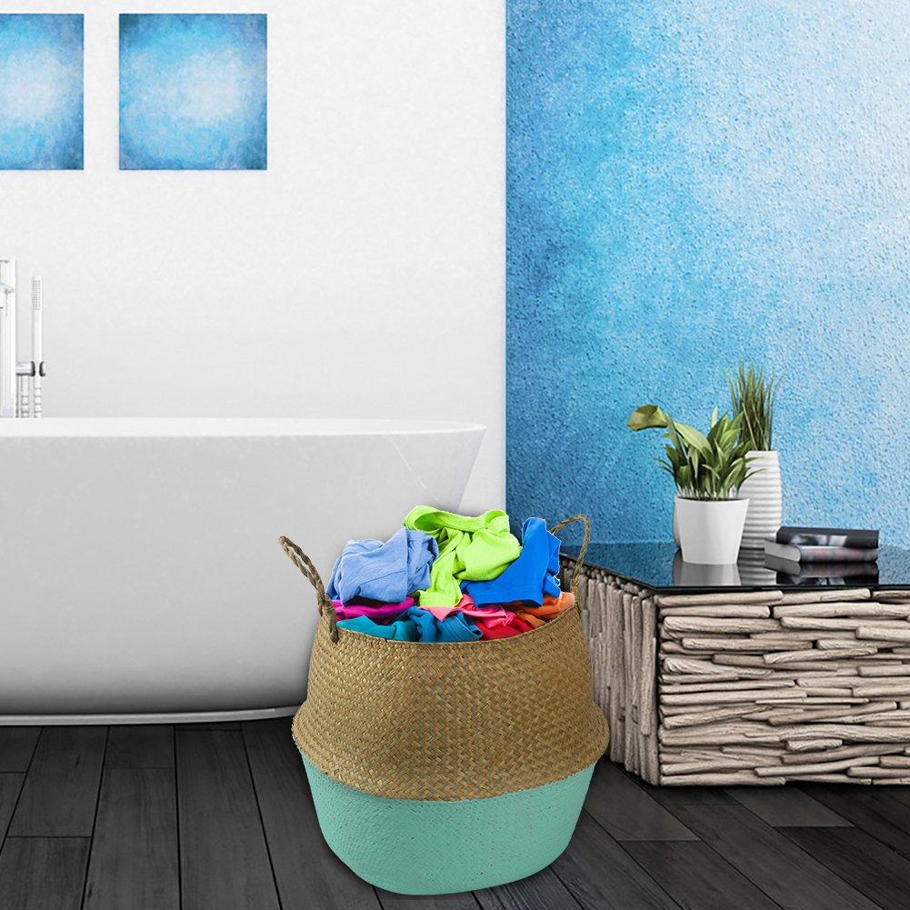 Awhao macetas de flores estilo n/órdico tejidas a mano cesta de almacenamiento plegable para ropa sucia juguetes de frutas L