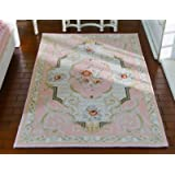 """Dollhouse Miniature Burgundy and Green Floral Large Accent Rug 9/"""" x 6/"""" RG170"""