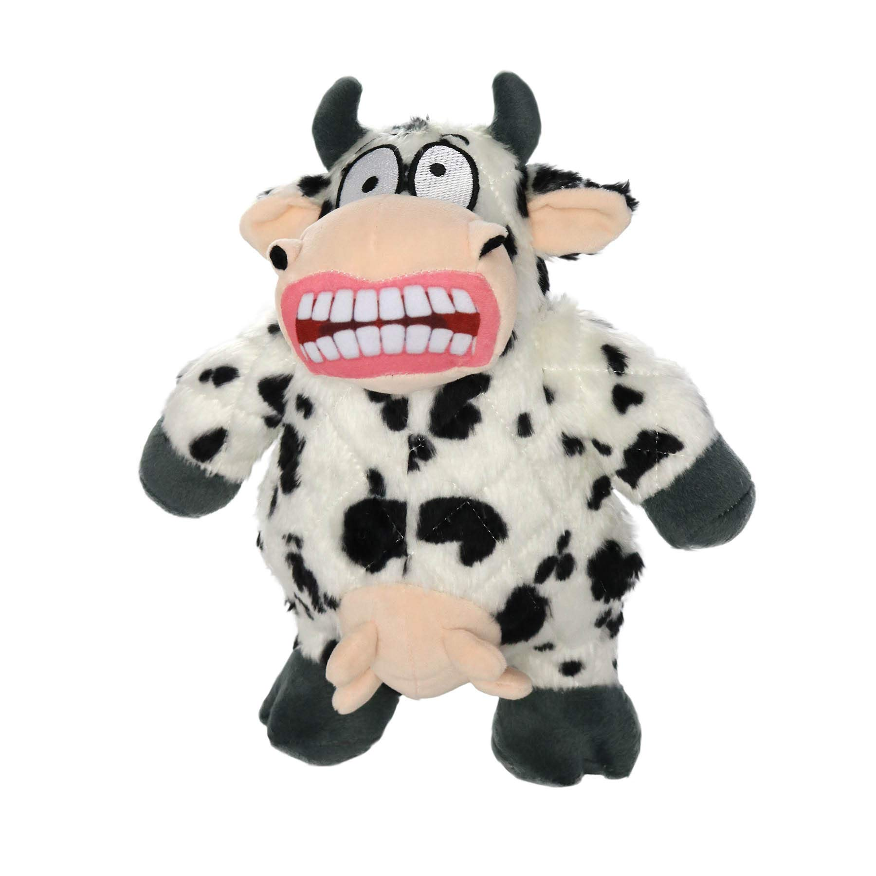 Mighty Jr Angry Animals Plush Dog Toy (Large, Cow) by Mighty