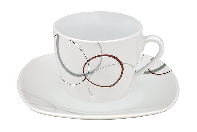 Kaffeeservice Service Kaffee Palazzo Porzellan Ornamente Dekor 18tlg Weiß Grau