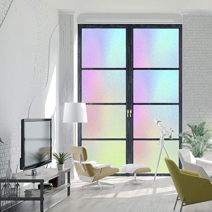 Fancy-fix - Protector decorativo para ventana, película de cristal esmerilado, efecto arcoíris, decoración iridiscente para puerta, fijación estática, control de calor, UV para cocina, comedor, oficina, 40 cm x 200 cm, rollo:
