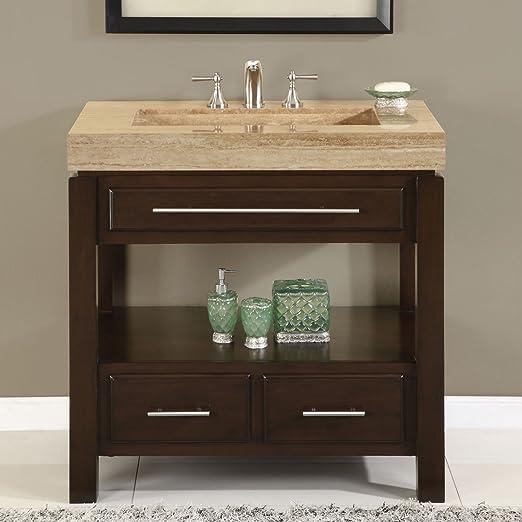 Amazon Com Silkroad Exclusive Hyp 0218 T 36 Dark Walnut Stone Top Single Sink Bathroom Vanity With Cabinet 36 Dark Wood Home Kitchen