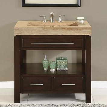 Amazoncom Silkroad Exclusive Dark Walnut Stone Top Single Sink