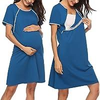 Sykooria Vestido de Lactancia, Ropa de Dormir de Algodón para Premamá, Conjunto de Pijamas de Maternidad Embarazo Ropa…