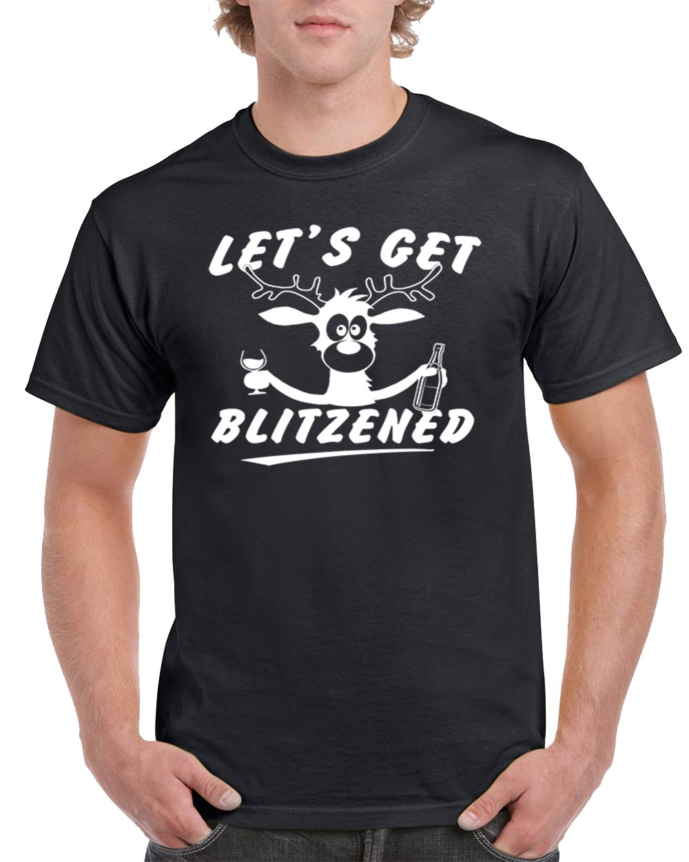 Ugly Christmas Shirts Let's Get Blitzened Men's T-Shirts Crew Neck Tee Shirts For Men(Black,Medium)