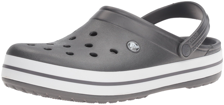 crocs Unisex Crocband Clog, Graphite/White, 6 US Men / 8 US Women
