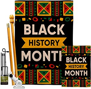Celebrate Black History Month Garden House Flag - Kit Support Cause BLM Anti Racism Justice Revolution Movement Equality Social - Decoration Banner Small Yard Gift Double-Sided Made In USA 28 X 40