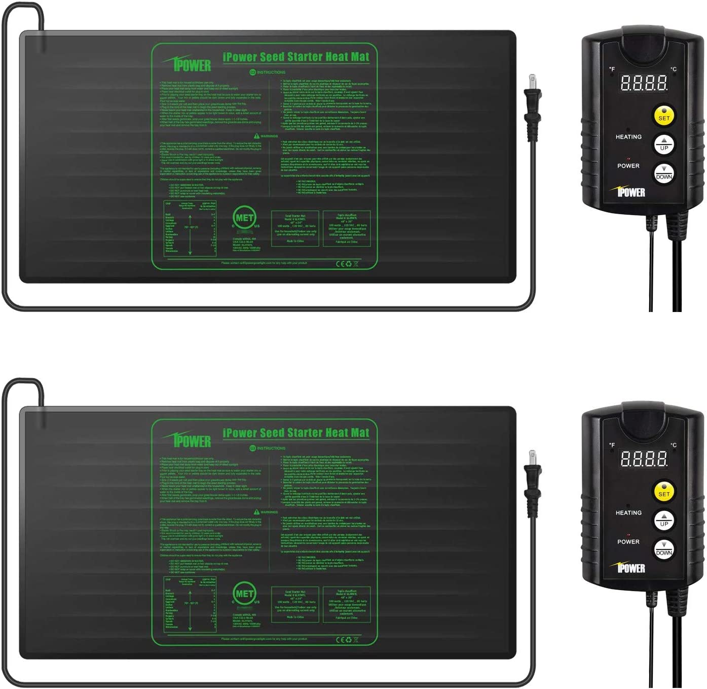 "iPower GLHTMTCTRLHTMTLX2 2 Pack 48"" x 20"" Warm Hydroponic Seedling Heat Mat and Digital Thermostat Control Combo Set for Plant Germination, Black"