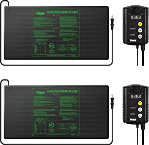 "iPower 2 Pack 48"" x 20"" Warm Hydroponic Seedling Heat Mat and Digital Thermostat Control Combo Set for Seed Germination, Black"
