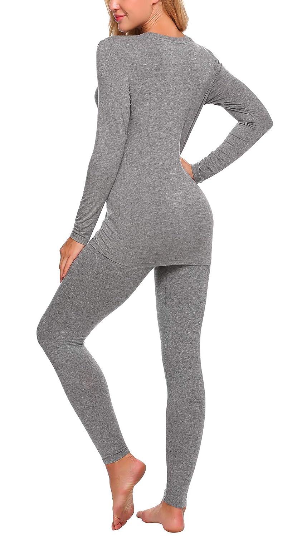 YOZLY Lightweight Thermal Underwear Womens Henley Long Johns Set Base Layer Top /& Bottom S-XXL