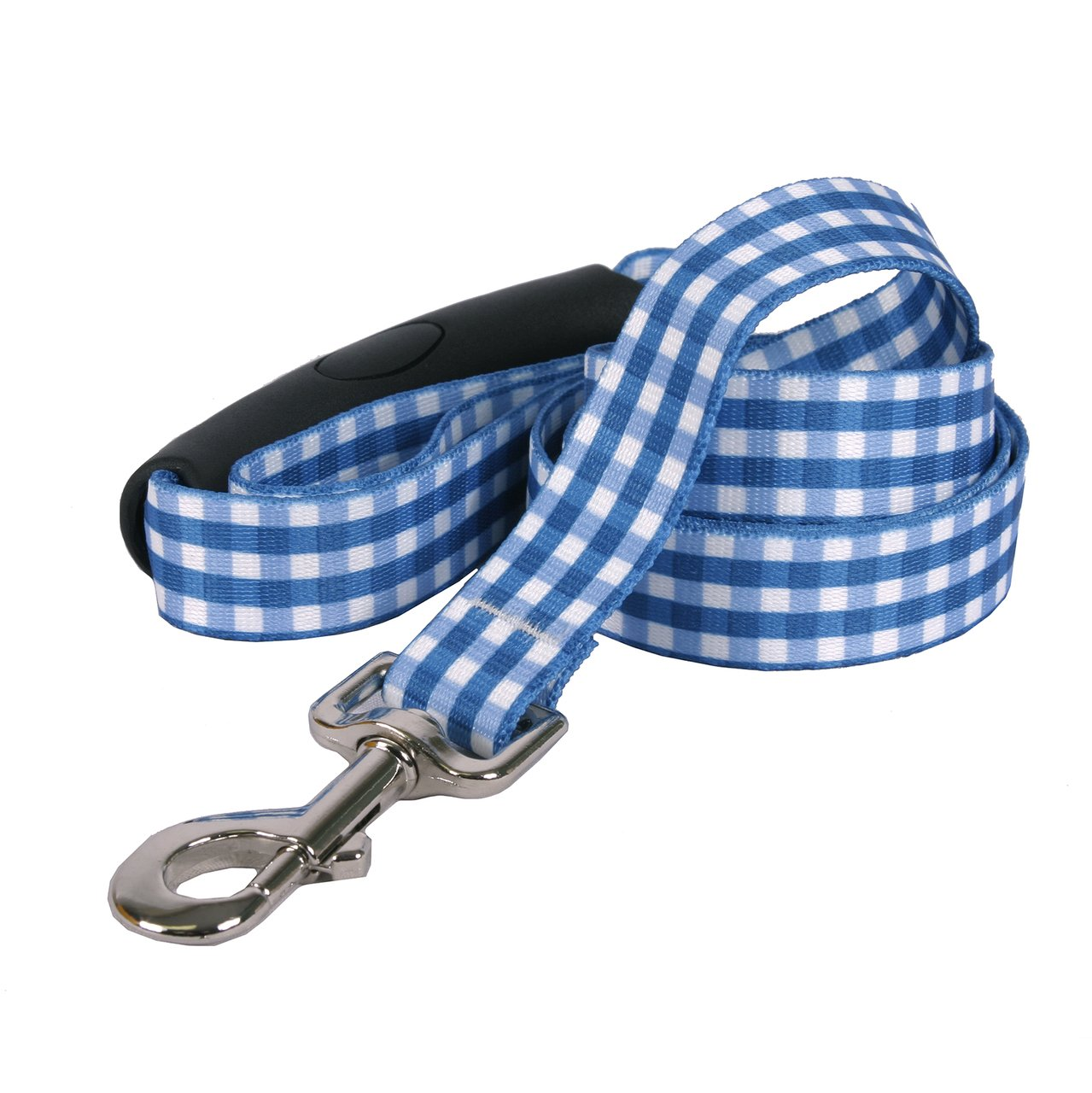 Yellow Dog Design Southern Dawg Gingham Navy Blue Dog Leash with Comfort Grip Handle-Large-1'' and 5' (60'') Made in the USA by