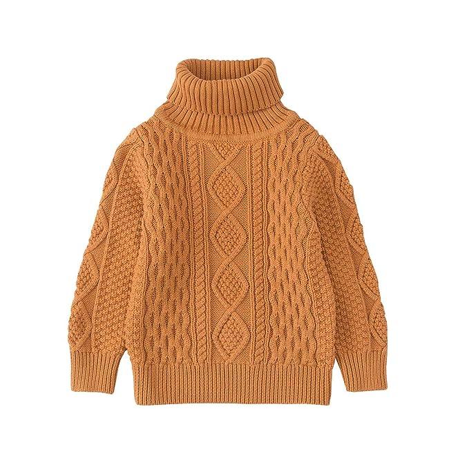 c203487dceab37 TAIYCYXGAN Baby Toddler Boys Girls Cotton Pullover Sweaters Unisex Kids  Winter Kint Sweatshirts High Neck Chocolate
