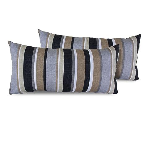 Amazon Com Tk Classics Stripe Rectangle Outdoor Throw Pillows Set
