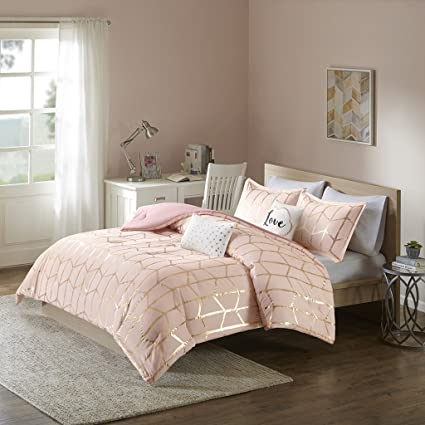 pink and gold comforter Amazon.com: Intelligent Design Raina Comforter Set Full/Queen Size  pink and gold comforter