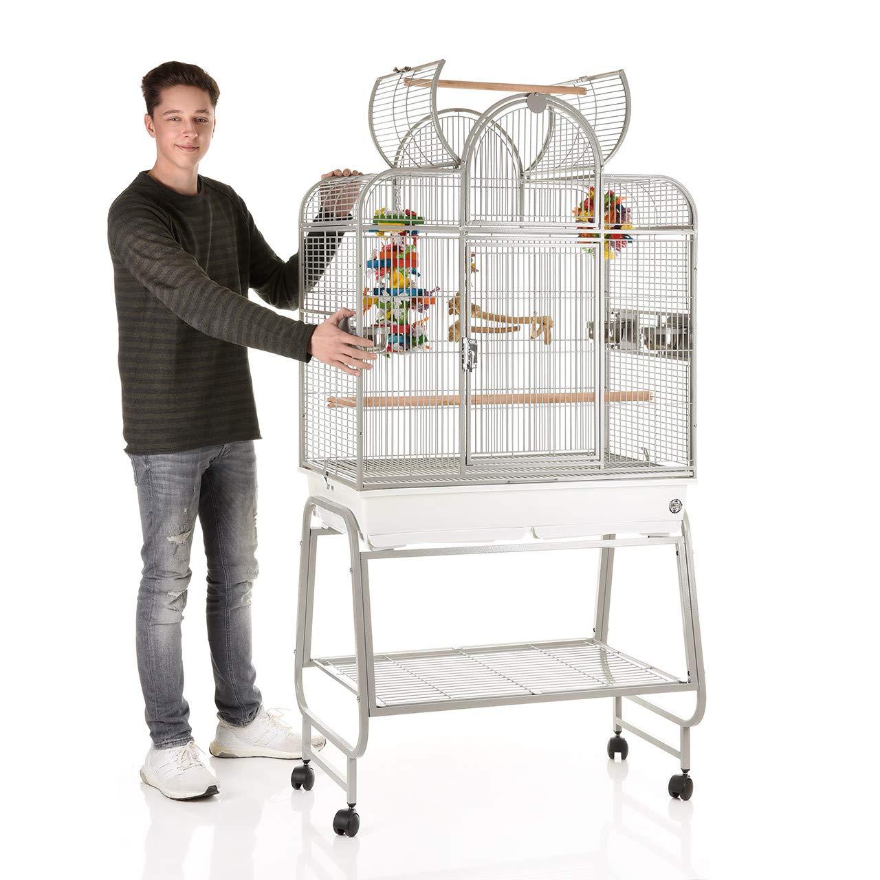 Montana San Remo III Metal Wire Cage with Avilon Powder Coating Bird Cage, 85 x 48 x 168 cm, Platinum
