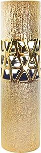 "Sagebrook Home 14637-02 Ceramic 20"" Vase W/Filligreecutout, Gold, 6 x 6 x 20"
