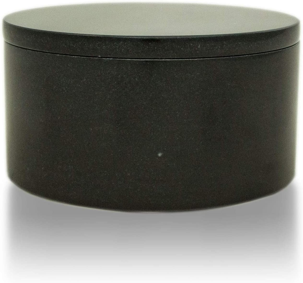 Cremation Urn Circular Keepsake Box Marble Sympathy Gift for a Loved One - Extra Small - Holds Up to 21 Cubic Inches of Ashes - Black Memorial Keepsake Box