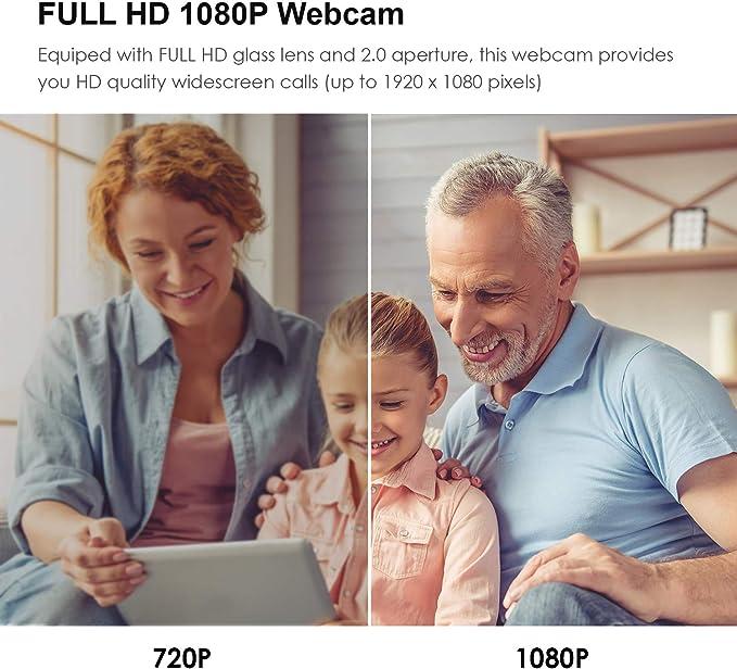 PAPALOOK PA150S Webcam Full HD 1080P Cámara web Alta Definición con Micrófono Incorporado para PC, Portátil, Web Cam de USB Plug and Play para Youtube, Skype, Compatible con Windows 7 / 8 /