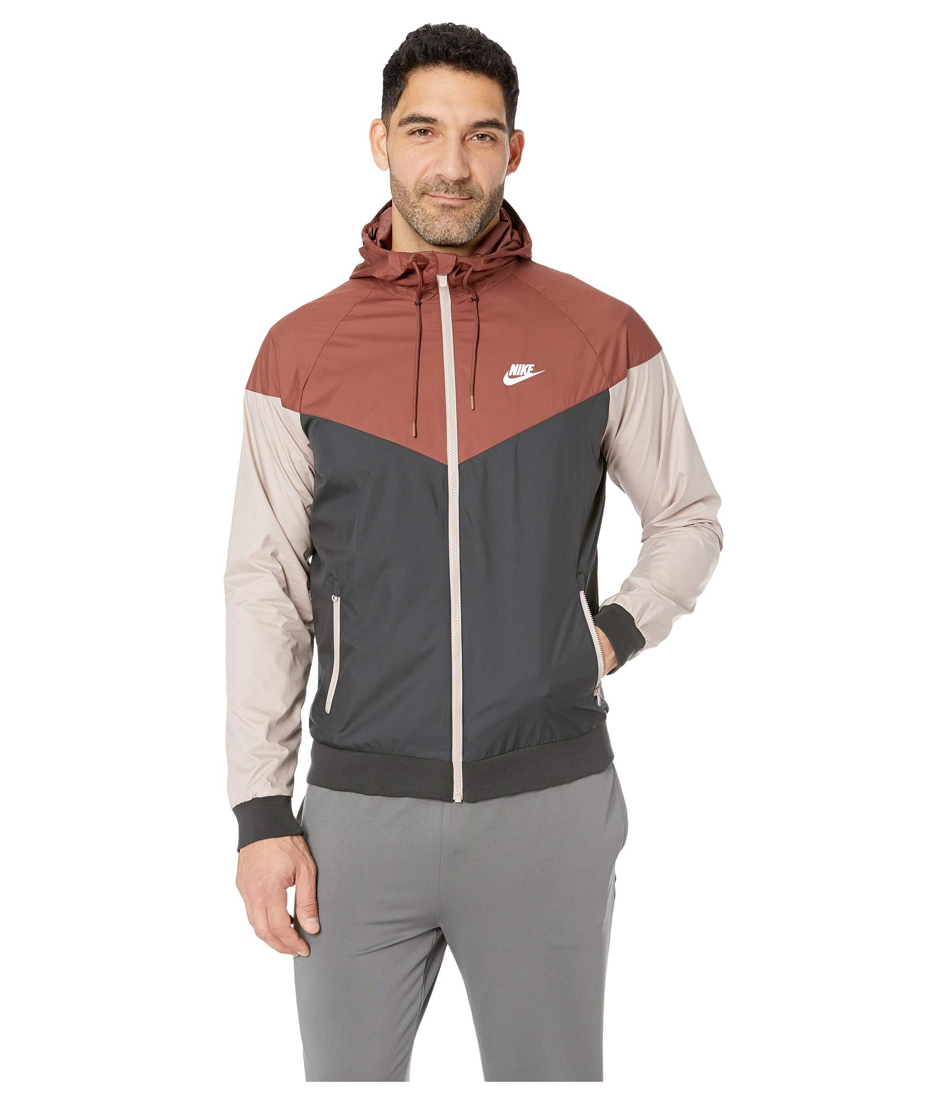 Nike Mens Windrunner Hooded Track Jacket Red Sepia/Black/Diffused Taupe 727324-236 Size X-Large by Nike